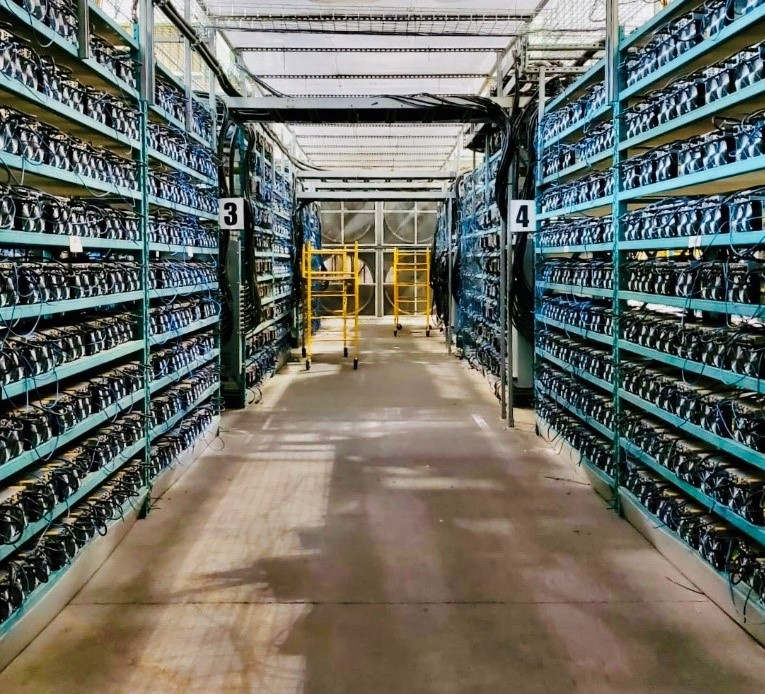 Recently installed Bitcoin mining equipment at HIVE's operation in Quebec.